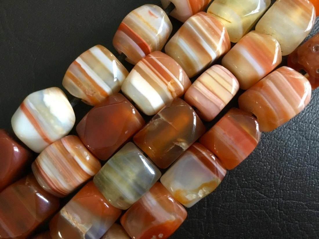 BANDED CARNELIAN AFRICAN TRADE BEADS - 3