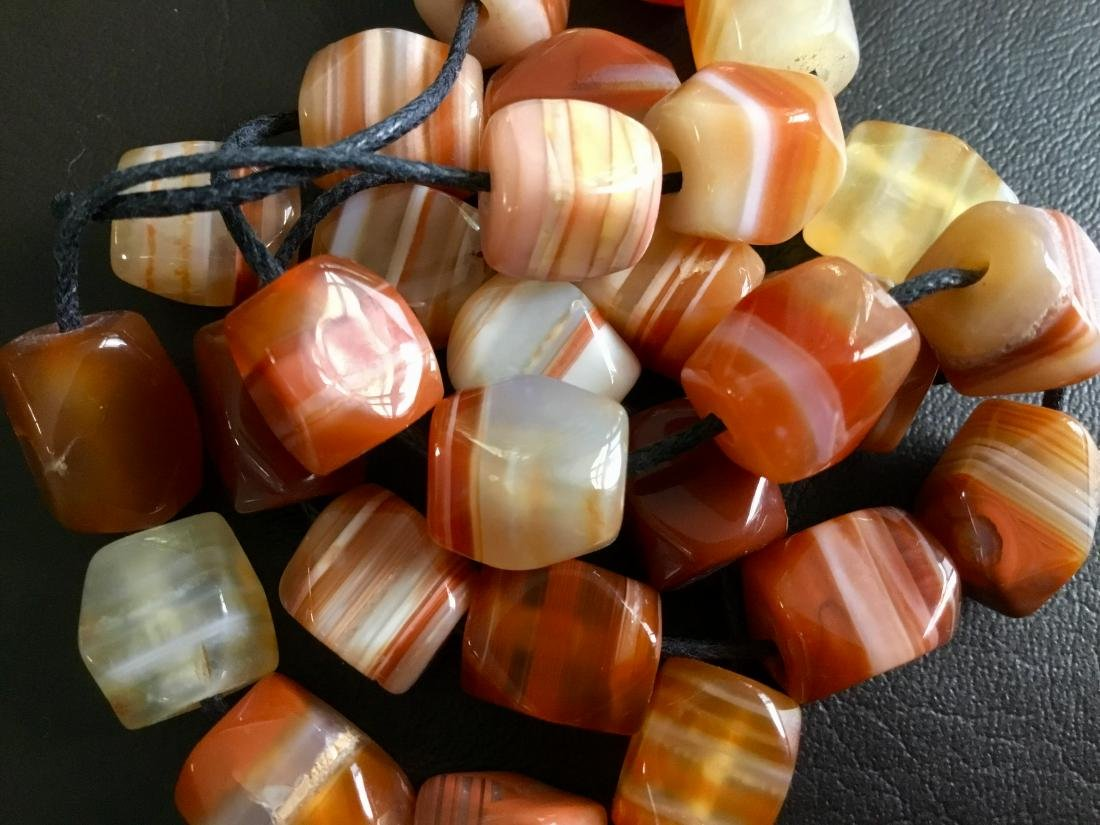 BANDED CARNELIAN AFRICAN TRADE BEADS - 5