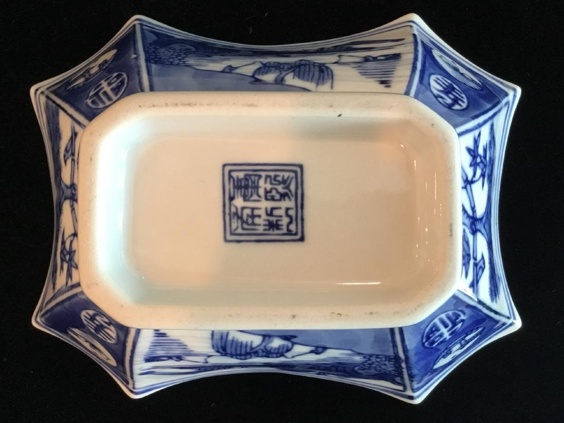 CHINESE BLUE AND WHITE CERAMIC BOWL MARKED