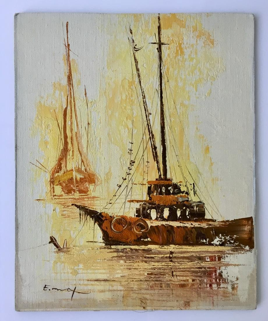 NAUTICAL OIL ON CANVAS PAINTING SIGNED E  MAX
