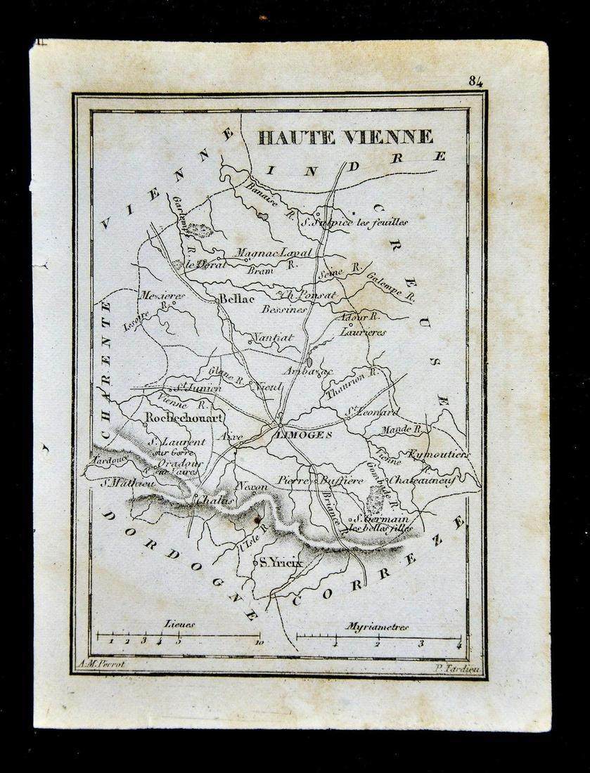 Antique Map Haute Vienne Limoges B Rochechouart France