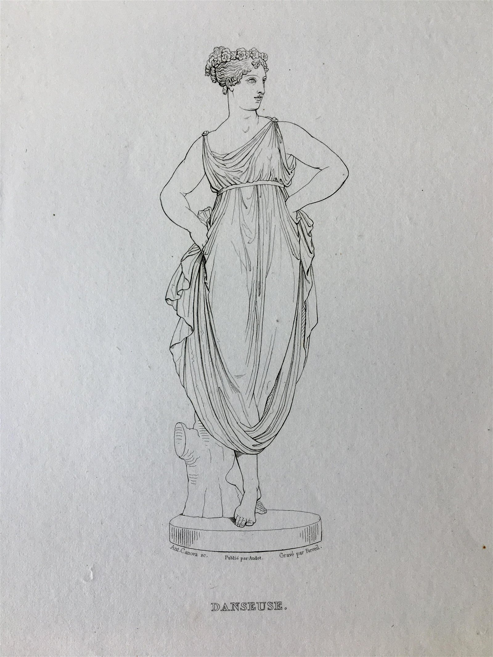 ANTIQUE FRENCH ENGRAVING OF A GREEK MARBLE STATUE