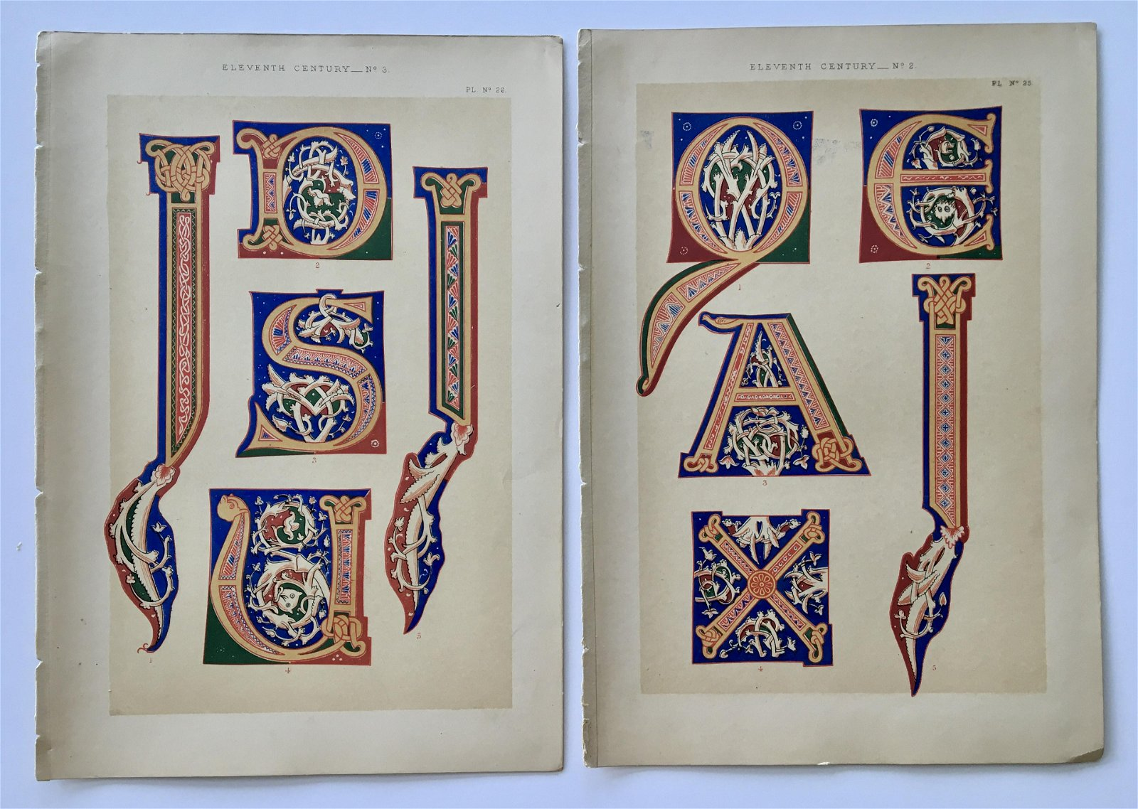 LOT OF 2 ANTIQUE TYPOGRAPHY CHROMOLITHOGRAPHS