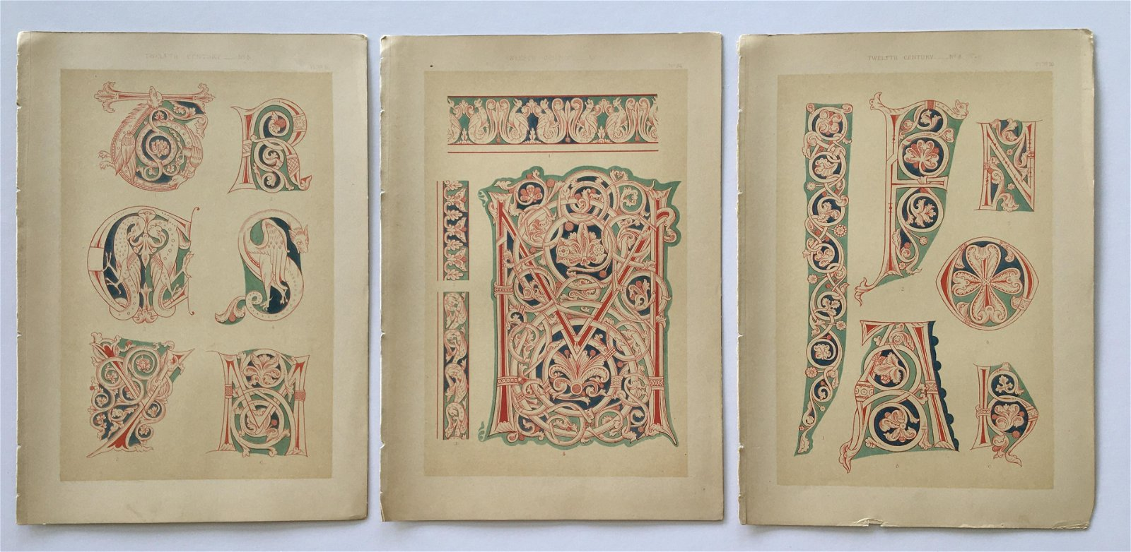 LOT OF 3 ANTIQUE TYPOGRAPHY CHROMOLITHOGRAPHS