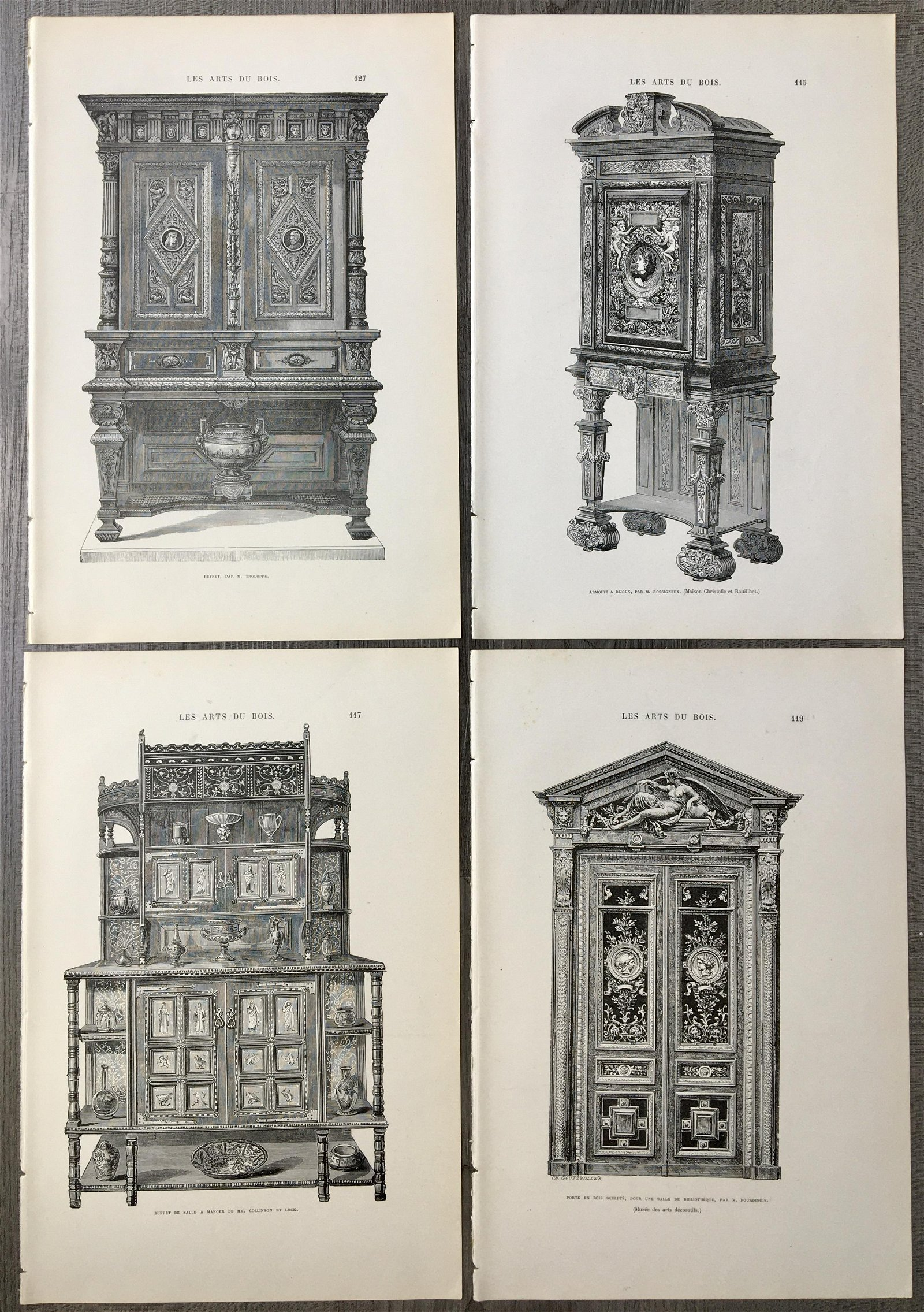 LOT OF 4 ANTIQUE FRENCH ENGRAVINGS FURNITURE DESIGN