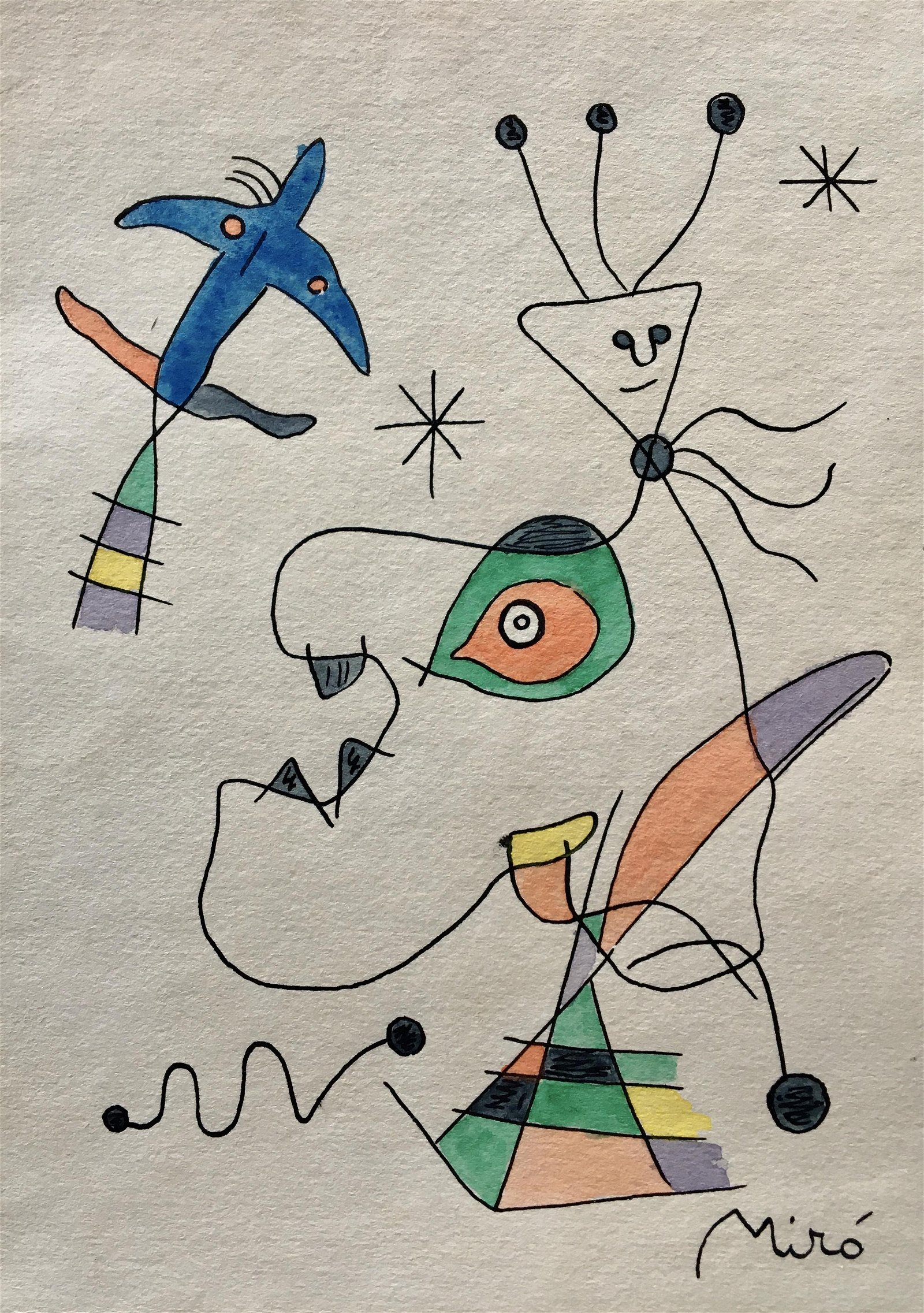JOAN MIRO ABSTRACT DRAWING ON PAPER
