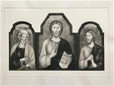 ETCHING AFTER CIMABUE CHRIST BTW ST PETER AND ST JAMES