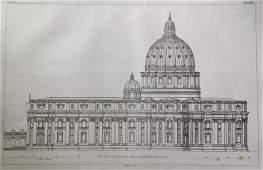 ANTIQUE ITALIAN ARCHITECTURAL ENGRAVING VATICAN