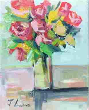 OIL PAINTING ON CANVAS FLOWERS VASE 8X10 inches