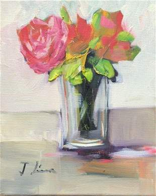 OIL ON CANVAS PAINTING FLOWERS VASE 8X10 inches