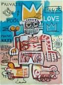 POP GRAFFITI ART LARGE PAINTING MIXED MEDIA ON PAPER