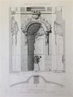 ANTIQUE FRENCH ARCHITECTURAL ENGRAVING STYLE LOUIS XV