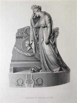 ENGRAVING AFTR ANTONIO CANOVA MONUMENT VITTORIO ALFIERI