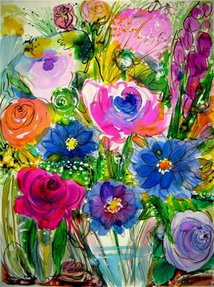 LARGE WATERCOLOR PAINTING FLOWERS BOUQUET