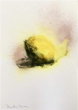 """ABSTRACT FRENCH WATERCOLOR PAINTING """"THE LEMON"""""""