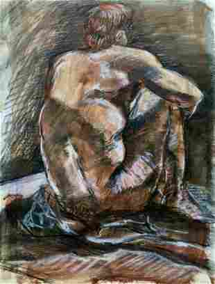 ABSTRACT PAINTING PASTEL ON PAPER NUDE BACK POSE