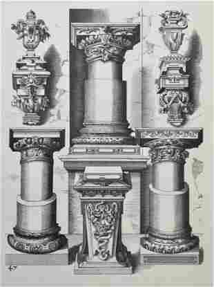 ANTIQUE ARCHITECTURAL LITHOGRAPH WENDEL DIETTERLIN