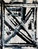 ABSTRACT ACRYLIC ON CANVAS PAINTING 60X48 TAPIES STYLE