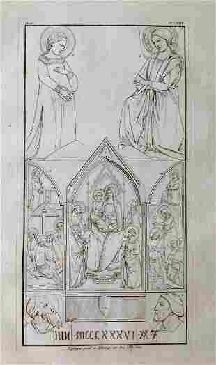 ANTIQUE PRINT RENAISSANCE CATHOLIC PAINTING XIV CENTURY