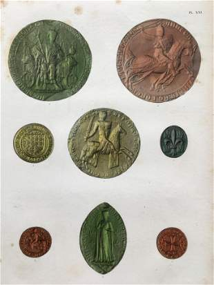 HAND COLORED ENGRAVING ACHILLE COLLAS COINS AND MEDALS