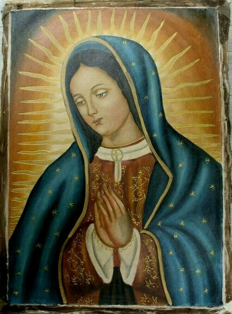 RELIGIOUS OIL ON CANVAS PAINTING VIRGIN