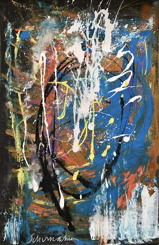 ABSTRACT EXPRESSIONIST PAINTING ON CANVAS