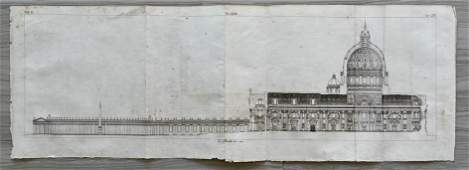 ANTIQUE LONG ARCHITECTURAL ENGRAVING OF THE VATICAN