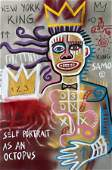 MIXED MEDIA POP ART PAINTING ON PAPER BASQUIAT STYLE