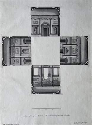 ANTIQUE ARCHITECTURAL ENGRAVING VITRUVIUS BRITANNICUS