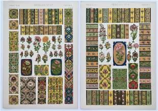 LOT OF 2 ANTIQUE CHROMOLITHOGRAPHS PERSIAN DESIGN