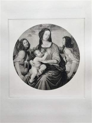 ETCHING AFTER LORENZO DI CREDI MADONNA WITH CHILD