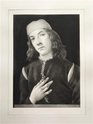 ETCHING AFTER SANDRO BOTTICELLI PORTRAIT OF A YOUNG MAN