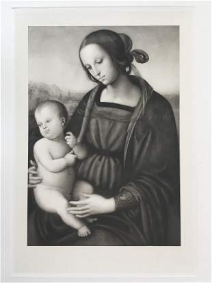 LARGE RELIGIOUS ITALIAN ETCHING VIRGIN AND CHILD