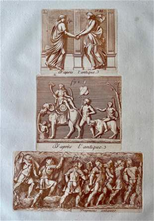 ANCIENT GREECE SEPIA ETCHING CA 1780