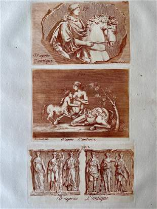 ALEXANDER THE GREAT SEPIA ETCHING CA 1780 BARBAULT