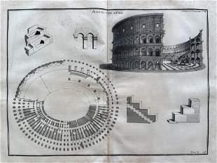 ANTIQUE ARCHITECTURAL ENGRAVING ROMAN AMPHITHEATER