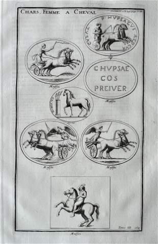 ANTIQUE ENGRAVING ANCIENT ROME FEMALE HORSE RIDERS