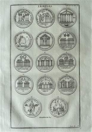 ARCHITECTURAL ANTIQUE ENGRAVING ROMAN TEMPLES