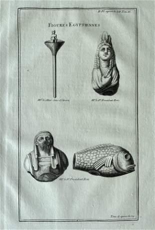 ANTIQUE ENGRAVING EGYPTIAN FIGURES