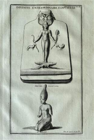 ANTIQUE ENGRAVING EGYPTIAN DIVINITY