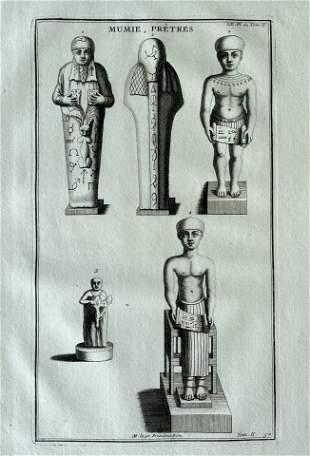 ANTIQUE ENGRAVING EGYPTIAN MUMMIES