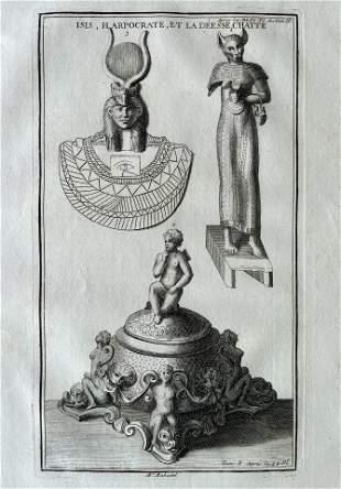 ANTIQUE ENGRAVING EGYPTIAN ISIS HARPOCRATES
