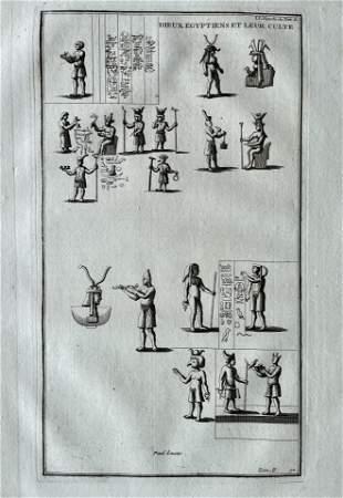 ANTIQUE ENGRAVING EGYPTIAN GODS
