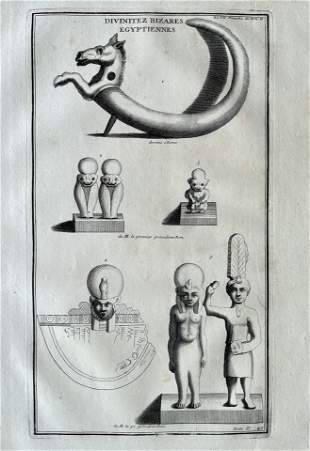 ANTIQUE ENGRAVING EGYPTIAN DIVINITIES