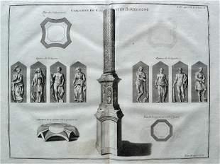 ANTIQUE ENGRAVING ANCIENT ROMAN COLUMN BOURGOUGNE