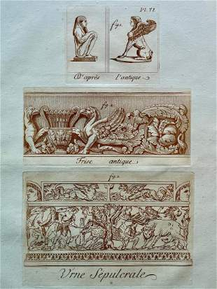 ARCHITECTURAL ANCIENT ROME SEPIA ETCHING C 1780