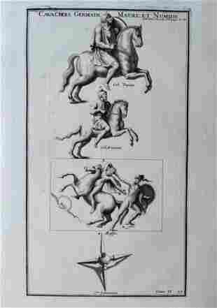 ANTIQUE ENGRAVING ANCIENT CAVALIERS GERMANIA NUMIDIA