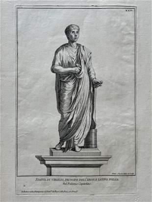 18th C ITALIAN ETCHING STATUE OF VIRGIL