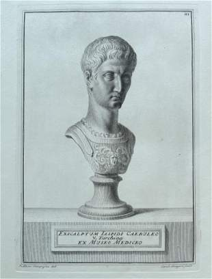 ANTIQUE NEOCLASSICAL ENGRAVING ETCHING ROMAN BUST