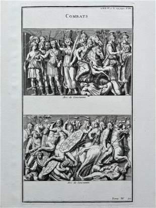 ANTIQUE ENGRAVING ETCHING GREEK ROMAN COMBATS